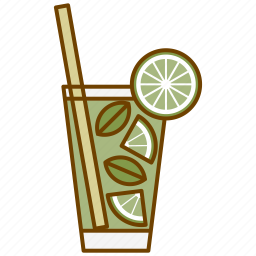 alcohol, coctail, drink, glass, lemon, mojito, party icon
