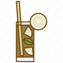 alcohol, coctail, cuba libre, drink, glass, lemon, party icon