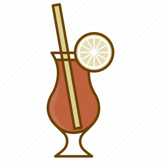 alcohol, coctail, drink, glass, lemon, party, sex on the beach icon