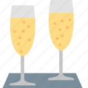 champagne, glasses, alcohol, drink, fuzzy, sparkling, wine icon