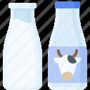 drinks, beverage, milk bottle, milk icon