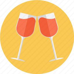 brindis, glass, red wine, rose, rose wine, two wine glasses, wine icon