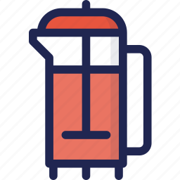 beverage, coffee, drink, french, press, tea icon