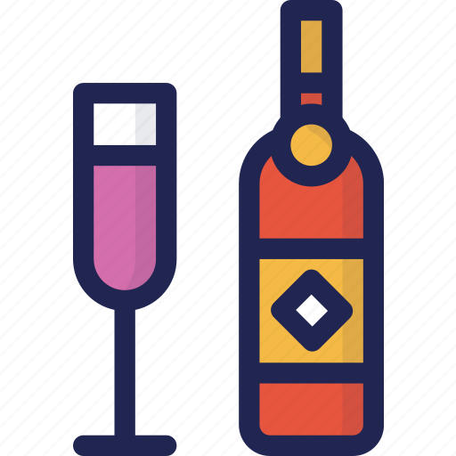 alcohol, beverage, bottle, champagne, drink, glass, minibar icon