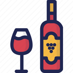 alcohol, beverage, bottle, drink, glass, minibar, wine icon