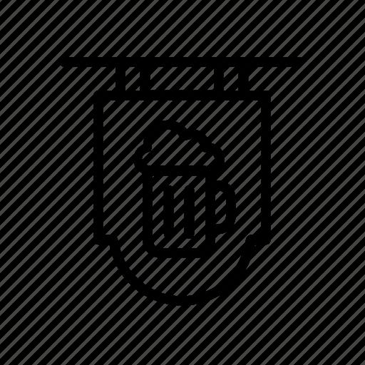 bar, beer, beverage, drink, mug, pub, sign icon