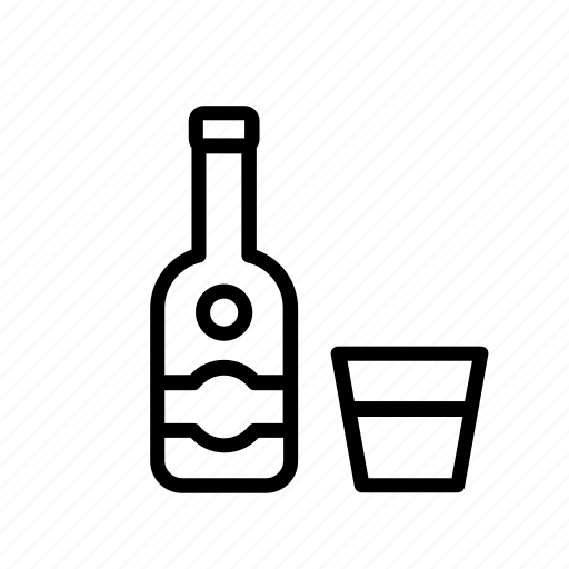 alcoholic, beverage, bottle, drink, glass, rum, vodka icon