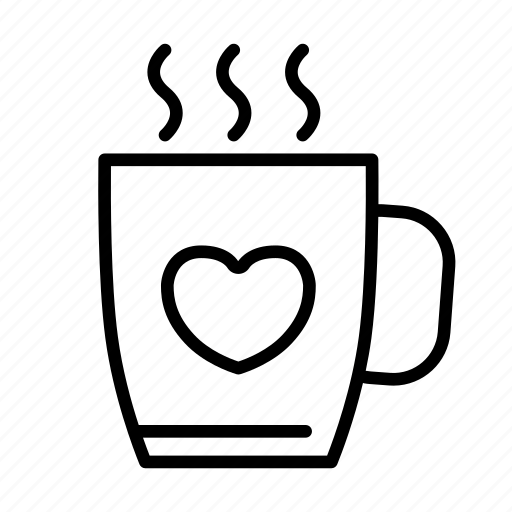 coffee, cup, drink, favorite, glass, heart, hot icon