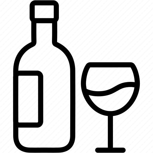 Drink, alcohol, beverage, bottle, glass, wine icon - Download on Iconfinder