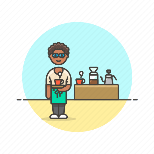 barista, coffee, cup, drink, filter, tea, woman icon