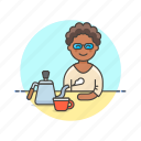 barista, coffee, cup, drink, hot, kettle, tea, woman icon