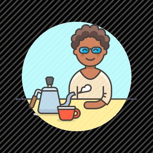 barista, coffee, cup, drink, hot, kettle, tea, woman icon