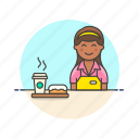 avatar, barista, cup, dessert, donut, drink, hot, woman icon