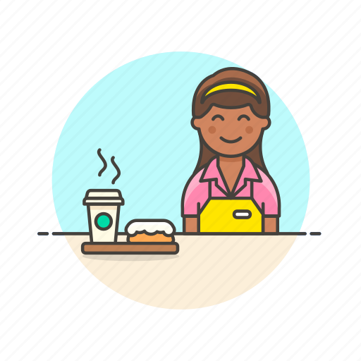 avatar, barista, cup, dessert, donut, drink, hot, woman icon
