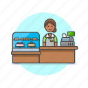 barista, cashier, dessert, drink, shop, store, woman icon