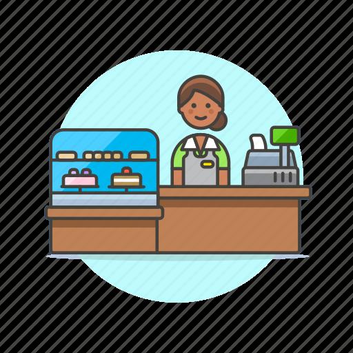 barista, cashier, dessert, drink, shop, store, woman icon