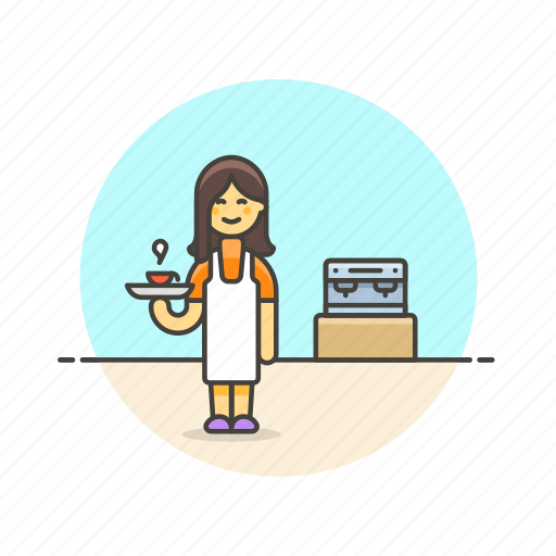barista, coffee, cup, drink, hot, machine, tea, woman icon