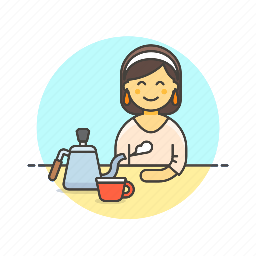 barista, coffee, cup, drink, hot, tea, woman icon