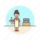 barista, coffee, cup, drink, hot, machine, tea, woman icon