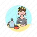avatar, barista, cup, drink, hot, kettle, tea, woman icon