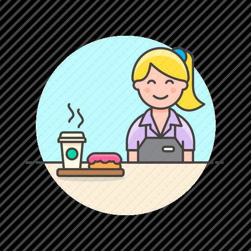 avatar, barista, coffee, dessert, donut, drink, hot, woman icon