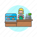 barista, cashier, dessert, drink, girl, shop, store, woman icon