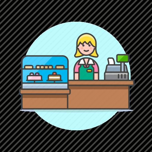 barista, cashier, dessert, drink, girl, shop, store, woman icon