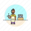 barista, coffee, drink, espresso, hot, machine, man, tea icon