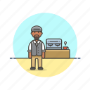 barista, coffee, cup, drink, machine, man, tea icon