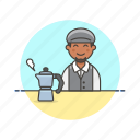 barista, coffee, drink, hot, kettle, man, tea icon