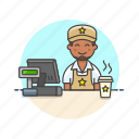 barista, cashier, coffee, cup, drink, man, shop, store icon