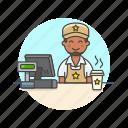 barista, cashier, coffee, cup, drink, man, shop, store icon