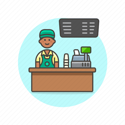 barista, cashier, drink, man, menu, shop, store icon