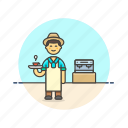 barista, coffee, cup, drink, hot, machine, man, tea icon