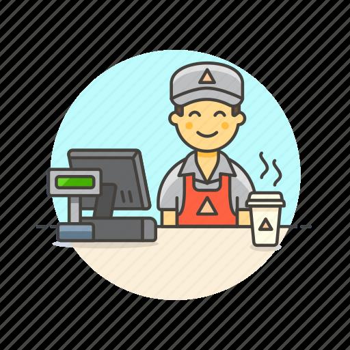 barista, cashier, coffee, drink, hot, man, shop, store icon