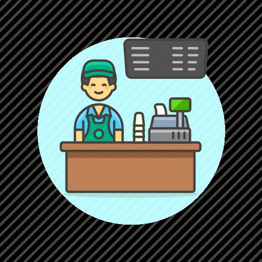 barista, cashier, drink, man, menu, shop, store icon