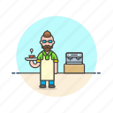 barista, coffee, cup, drink, hot, machine, man icon