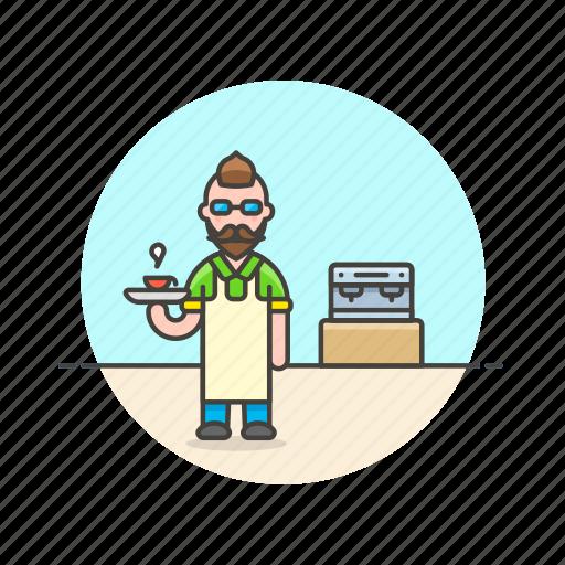 barista, coffee, cup, drink, hot, machine, man icon