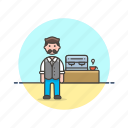 barista, coffee, cup, drink, hot, machine, man, tea icon