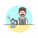 avatar, barista, coffee, drink, hot, kettle, man icon
