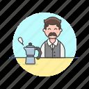 barista, coffee, hot, man, avatar, drink, kettle