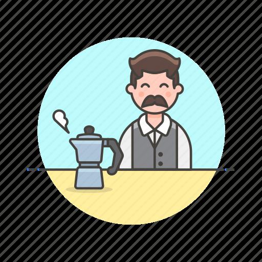 avatar, barista, coffee, drink, hot, kettle, man icon