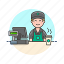 avatar, barista, cashier, coffee, drink, hot, man, tea icon