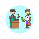 barista, buy, cashier, drink, man, pay, payment, store icon