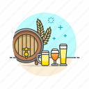 barrel, beer, beverage, craft, drinks, fermented, wheat icon