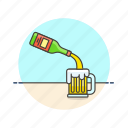beer, mug, alcohol, foam, jug, beverage, drink icon