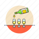alcohol, bottle, celebration, champagne, drink, glasses, party icon