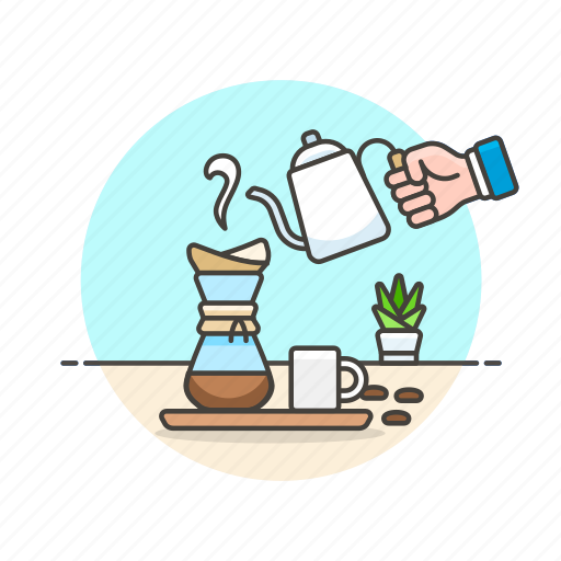brewing, coffee, drink, drip, filter, hot, plant icon