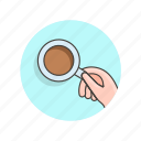 coffee, cup, drinks, hand icon