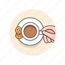 coffee, cookies, cup, drinks, hand icon